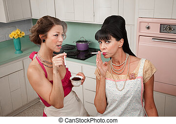 Women Smoking Cigarettes - Two middle-aged retro styled...