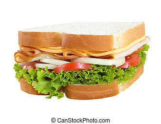 Sandwiches - Single whole sandwiches isolated on white...