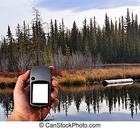 Hiker Walking through Forest with GPS