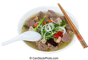 Pho Beef Noodles - Bowl of Vietnamese food pho tai beef...