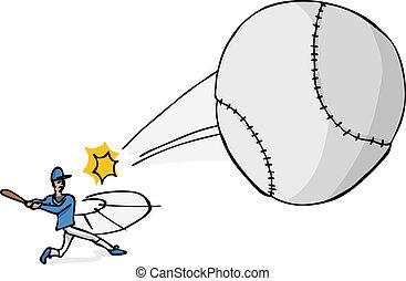 Softball Player Hits the Ball - Illustration of a softball...