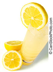 Fresh Lemonade seen from the top - A glass of lemonade with...