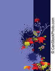 Grunge floral background with circ