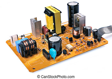 Electronic components on a printed circuit board