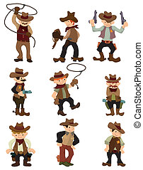 cartoon cowboy icon  - cartoon cowboy icon