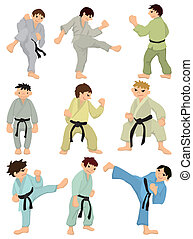 cartoon Karate Player icon  - cartoon Karate Player icon