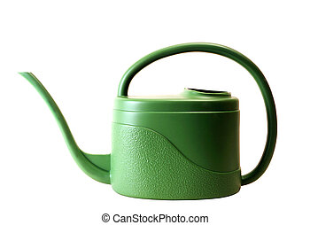 Green watering pot isolated on white background