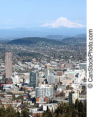 Portland OR. & Mt. Hood. - A view of the city from Pittock...