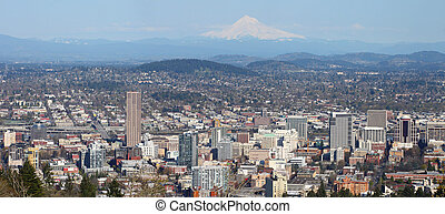 A panorama of Portland OR. - A view of the city from Pittock...