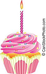 cupcake with burning candle - vector cupcake with burning...
