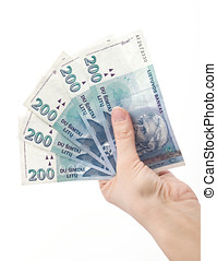 hand holading 1000 litas - hand holding Lithuanian money...