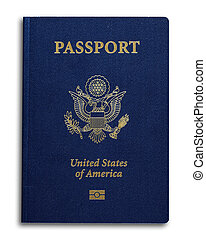 New US Passport - New US passport with ID chip isolated on...