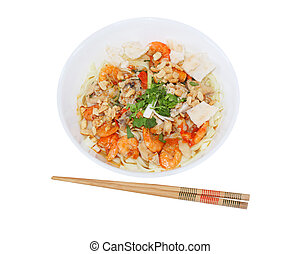 Mi Quang - Bowl of mi quang vietnamese food isolated on...