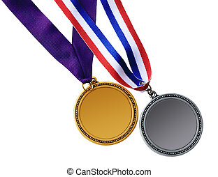 Medals - Gold and silver medals isolated on white background