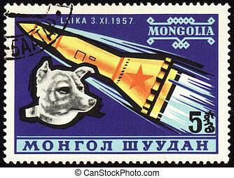 Soviet rocket and dog Laika on Mongolian post stamp -...