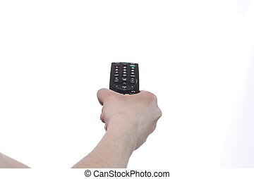 emote control - Hand with remote control isolated on white