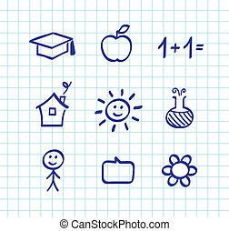 School doodle drawings and icons - isolated on white paper...