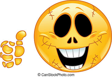 Skull emoticon with thumb up