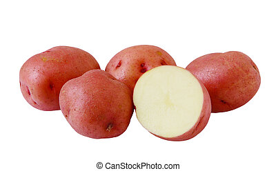 Red Potatoes - Group of red potatoes isolated on white...