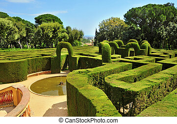 Parc del Laberint d'Horta in Barcelona, Spain - A view of...