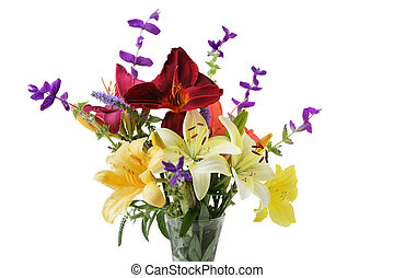 Lilies - Colorful lily flowers in the vase isolated over...