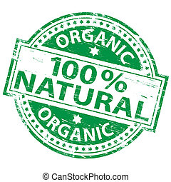 "100% Natural Stamp - Rubber stamp illustration showing ""100..."
