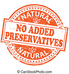 No Added Preservatives Stamp - Rubber stamp illustration...