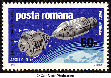 Post stamp with american spaceship Apollo-9 - Postage stamp...