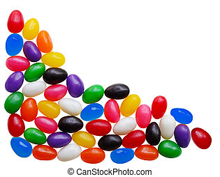Jelly Bean - Colorful jelly bean candys over white...