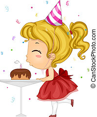 Birthday Candle Blow - Illustration of a Girl Blowing Her...