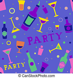 Cocktail Party Seamless - Seamless Background Illustration...