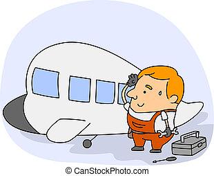 Aviation aircraft mechanic drawing