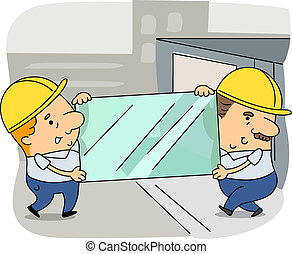 Glazier - Illustration of Glaziers at Work