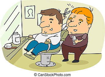 Barber - Illustration of a Barber at Work