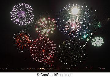 Fireworks - Multiple of fireworks over black sky background