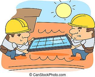 Solar Panel Installer - Illustration of Solar Panel...