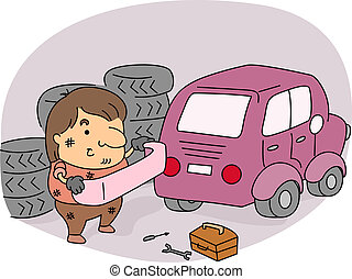 Auto Mechanic - Illustration of an Auto Mechanic at Work