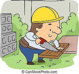 Woodcutter - Illustration of a Woodcutter at Work