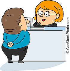Bank Teller - Illustration of a Bank Teller at Work