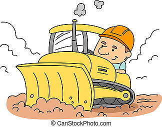 Bulldozer - Illustration of a Man Operating a Bulldozer