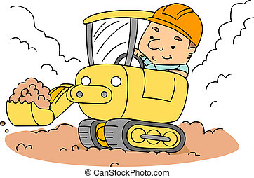 Backhoe - Illustration of a Construction Worker Operating a...