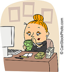 Accountant - Illustration of an Accountant at Work