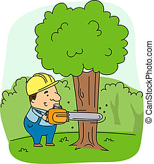 Logger - Illustration of a Logger at Work