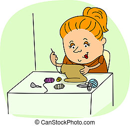 Seamstress - Illustration of a Seamstress at Work