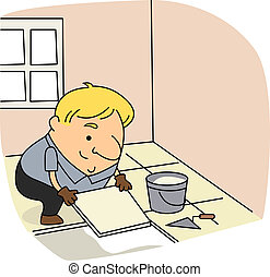 Tile Setter - Illustration of a Tile Setter at Work
