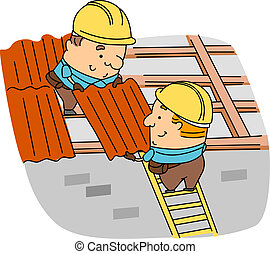 Roofer - Illustration of Roofers at Work