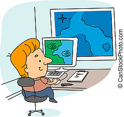 Meteorologist - Illustration of a Meteorologist at Work