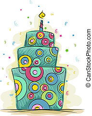 Funky Cake - Illustration of a Cake with a Funky Design