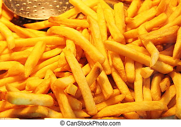 French fries - Close up of hot french fries