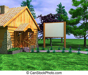 Wooden house with a signboard